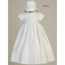 Girls Satin Christening Gown with Sequins and Beads