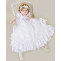 Girls Frilly Lace Christening Gown