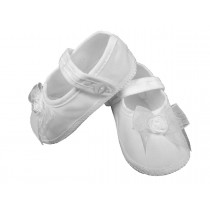 Girls Organza Christening Shoes with Bow