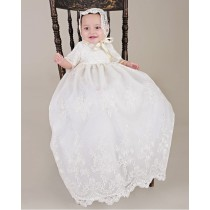 Ivory Lace Christening Gown with Sleeves