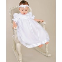 Girls Christening Gown with Puffed Sleeves