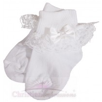 Girls White Christening Socks with Bow and Pearl
