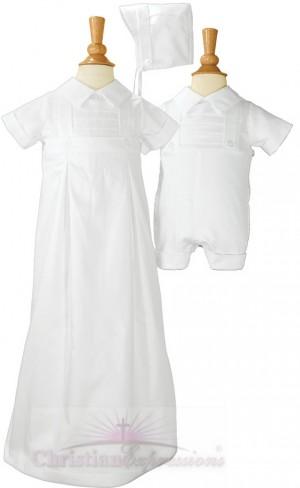 Boys Christening Romper - Gown Convertible Set
