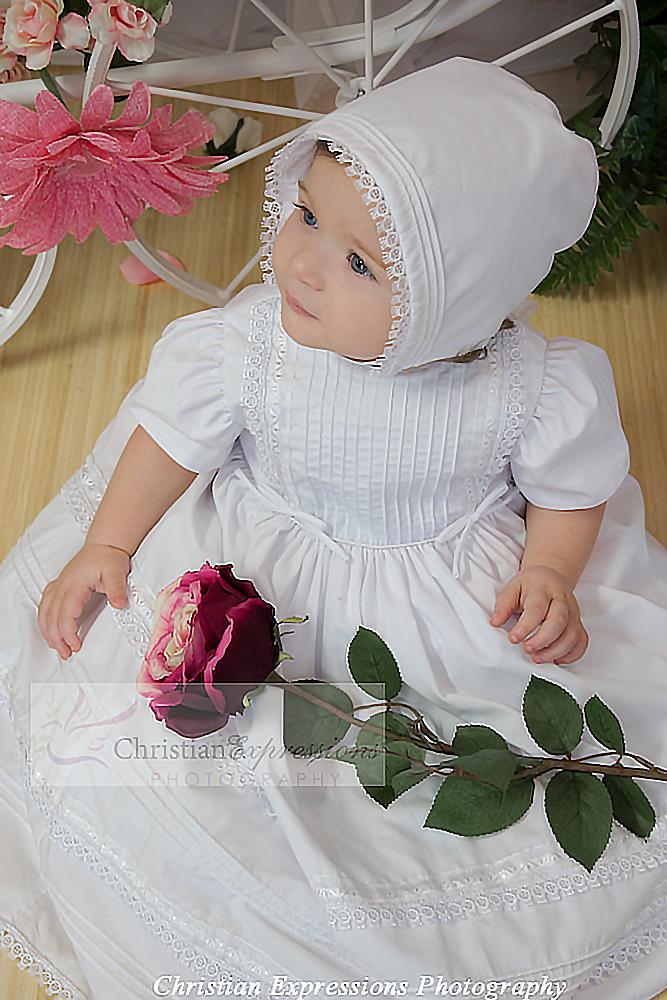cotton pintucked christening dress